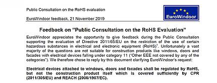 EuroWindoor published its feedback on Public Consultation on the RoHS Evaluation