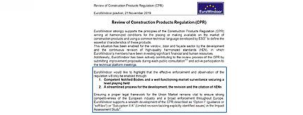EuroWindoor published the Position on the Review of CPR
